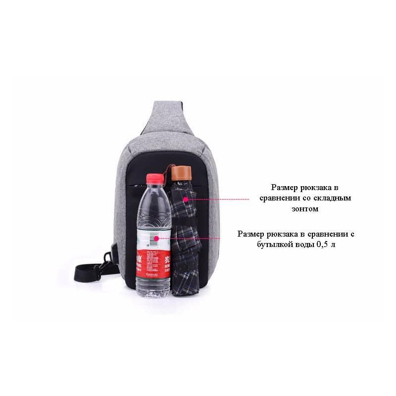 Городской рюкзак-антивор Bobby Mini с защитой от карманников и USB-портом для зарядки: водонепроницаемый, защита от порезов 216030