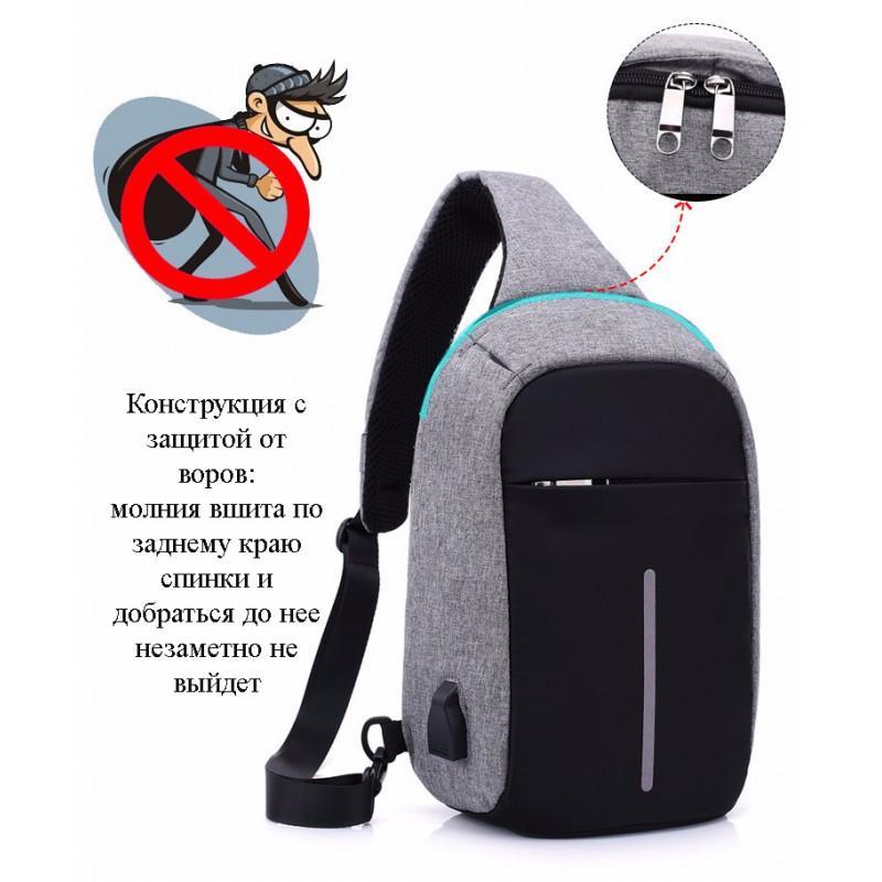 Городской рюкзак-антивор Bobby Mini с защитой от карманников и USB-портом для зарядки: водонепроницаемый, защита от порезов 216045