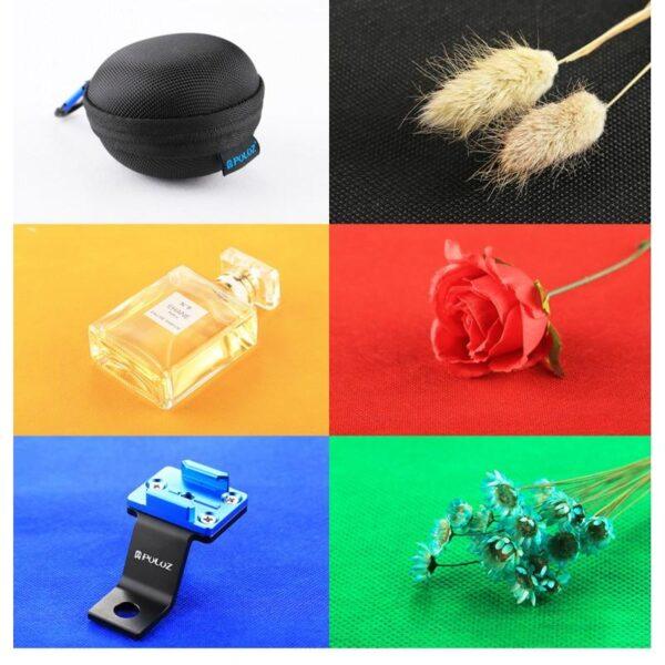 40654 - Складная мини-фотостудия (лайтбокс) PULUZ PU5022 с двойной USB LED-подсветкой для предметной съемки: 6 цветов фона, 24x23x22 см