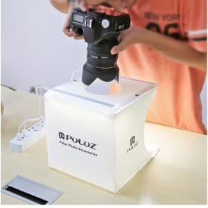 40656 thickbox default - Складная мини-фотостудия (лайтбокс) PULUZ PU5022 с двойной USB LED-подсветкой для предметной съемки: 6 цветов фона, 24x23x22 см