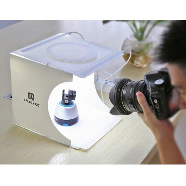 40657 - Складная мини-фотостудия (лайтбокс) PULUZ PU5022 с двойной USB LED-подсветкой для предметной съемки: 6 цветов фона, 24x23x22 см