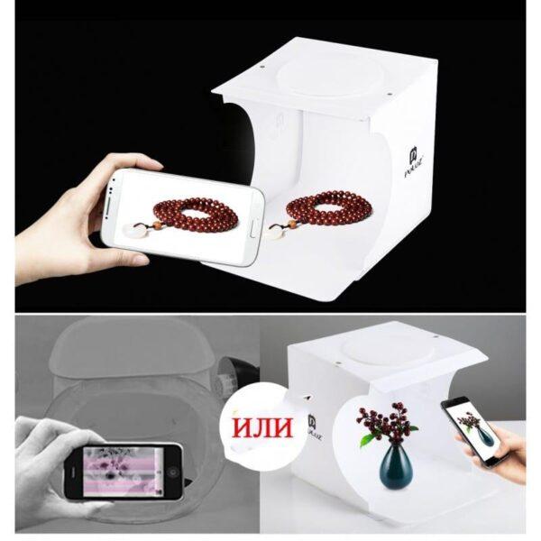 40658 - Складная мини-фотостудия (лайтбокс) PULUZ PU5022 с двойной USB LED-подсветкой для предметной съемки: 6 цветов фона, 24x23x22 см