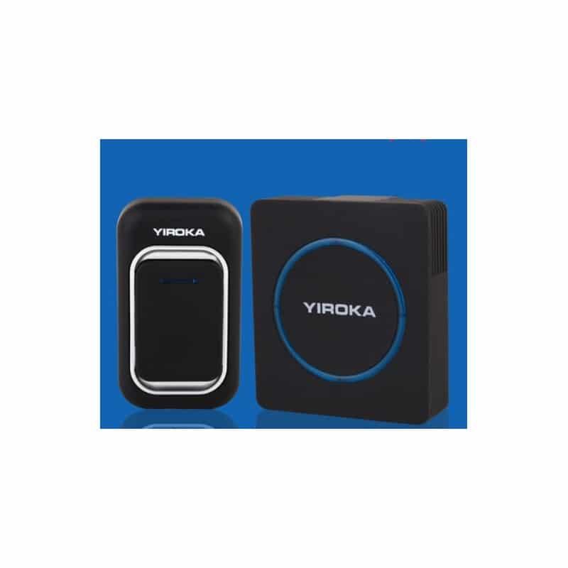 Беспроводной дверной звонок YIROKA A-289 (черный): 48 мелодий, 4 уровня громкости, 260 м диапазон - 1 передатчик + 1 приемник