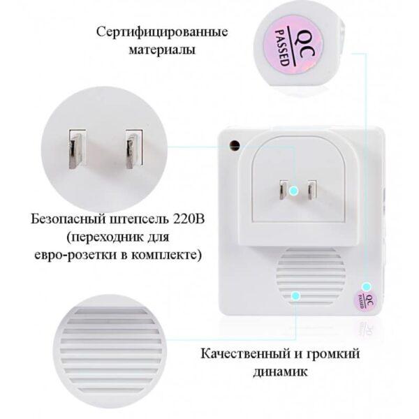 40751 - Беспроводной дверной звонок YIROKA A-289 (белый): 48 мелодий, 4 уровня громкости, 260 м диапазон