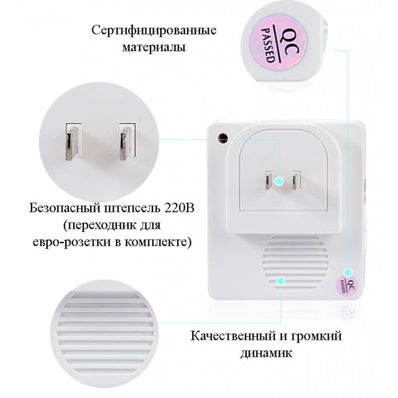 Беспроводной дверной звонок YIROKA A-289 (белый): 48 мелодий, 4 уровня громкости, 260 м диапазон 216143