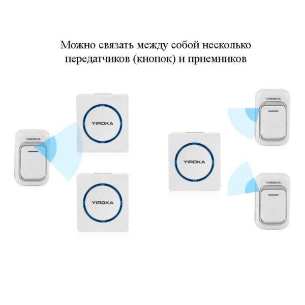 40757 - Беспроводной дверной звонок YIROKA A-289 (белый): 48 мелодий, 4 уровня громкости, 260 м диапазон