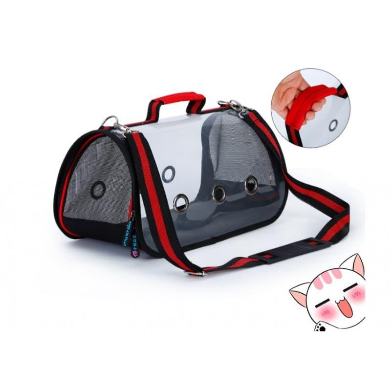 Комплект: Прозрачная сумка-переноска Pet Travel для собак, кошек и портативная дорожная поилка-кормушка Doggy Travel 216175