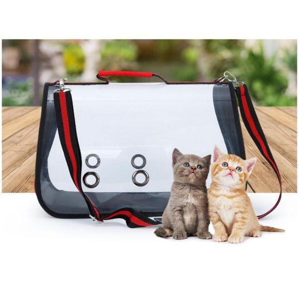 40796 - Комплект: Прозрачная сумка-переноска Pet Travel для собак, кошек и портативная дорожная поилка-кормушка Doggy Travel