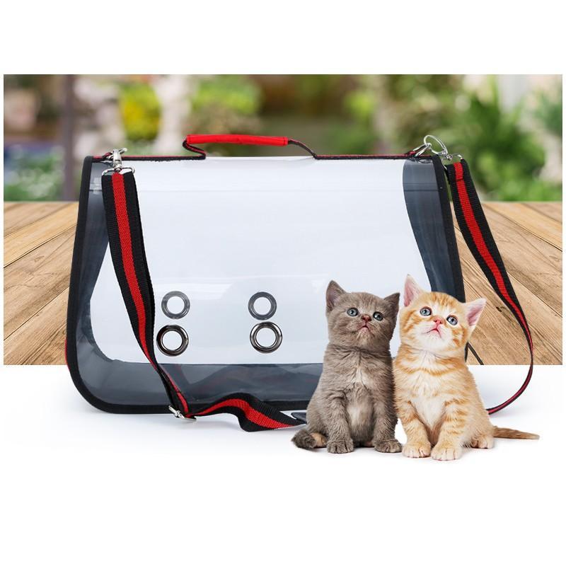 Комплект: Прозрачная сумка-переноска Pet Travel для собак, кошек и портативная дорожная поилка-кормушка Doggy Travel 216179