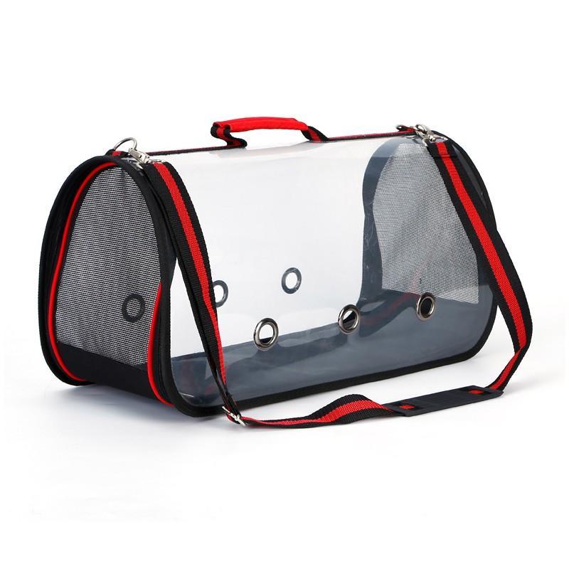 Комплект: Прозрачная сумка-переноска Pet Travel для собак, кошек и портативная дорожная поилка-кормушка Doggy Travel 216180