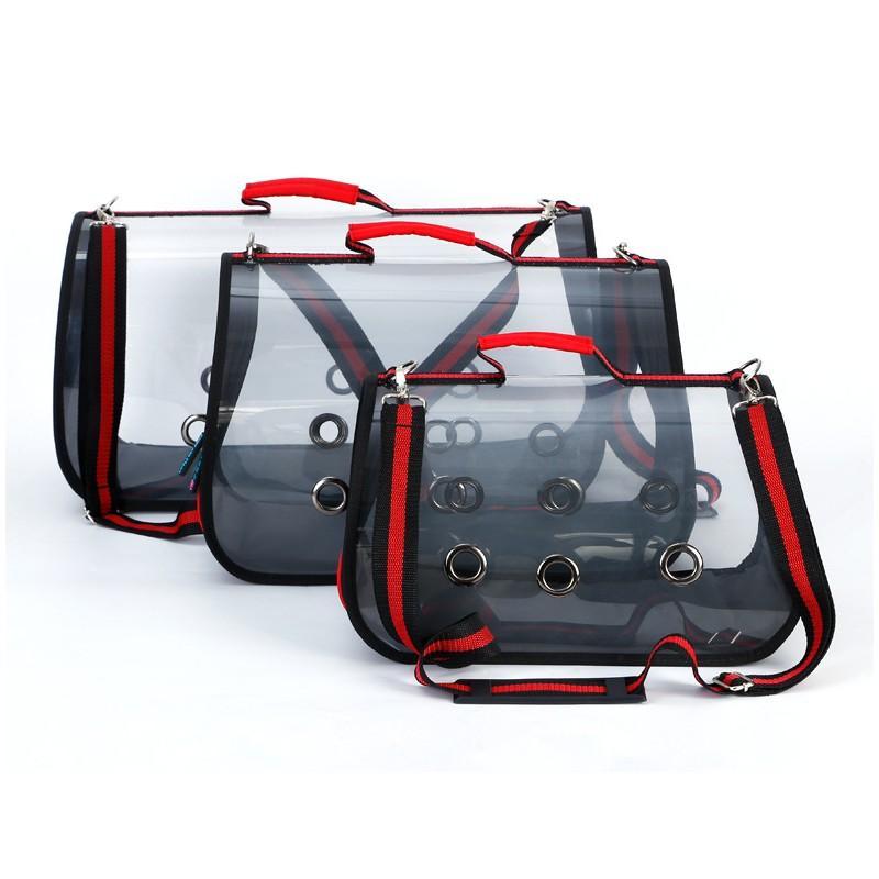 Комплект: Прозрачная сумка-переноска Pet Travel для собак, кошек и портативная дорожная поилка-кормушка Doggy Travel 216185
