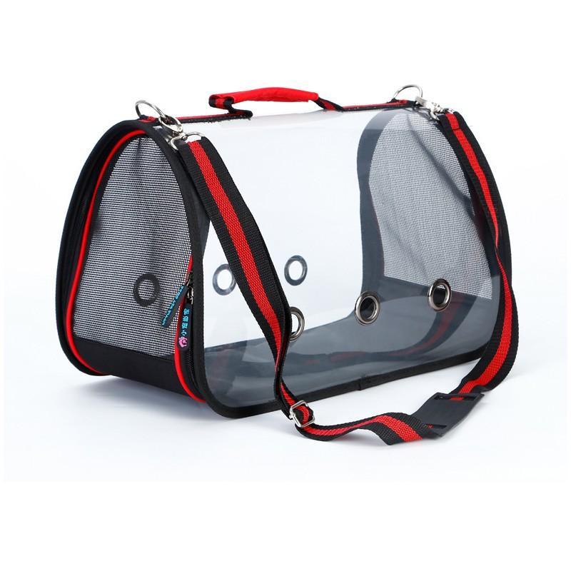 Комплект: Прозрачная сумка-переноска Pet Travel для собак, кошек и портативная дорожная поилка-кормушка Doggy Travel 216186