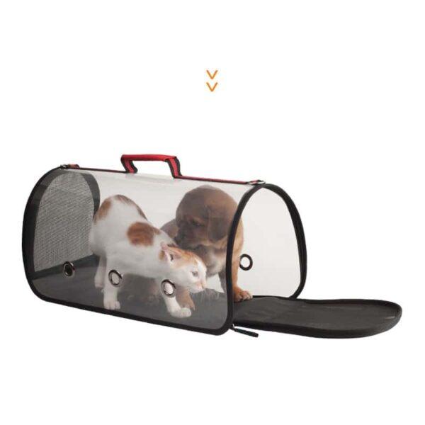 40805 - Комплект: Прозрачная сумка-переноска Pet Travel для собак, кошек и портативная дорожная поилка-кормушка Doggy Travel