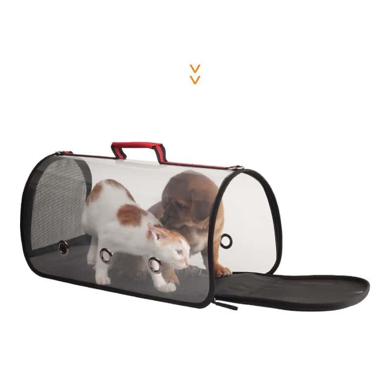 Комплект: Прозрачная сумка-переноска Pet Travel для собак, кошек и портативная дорожная поилка-кормушка Doggy Travel 216188