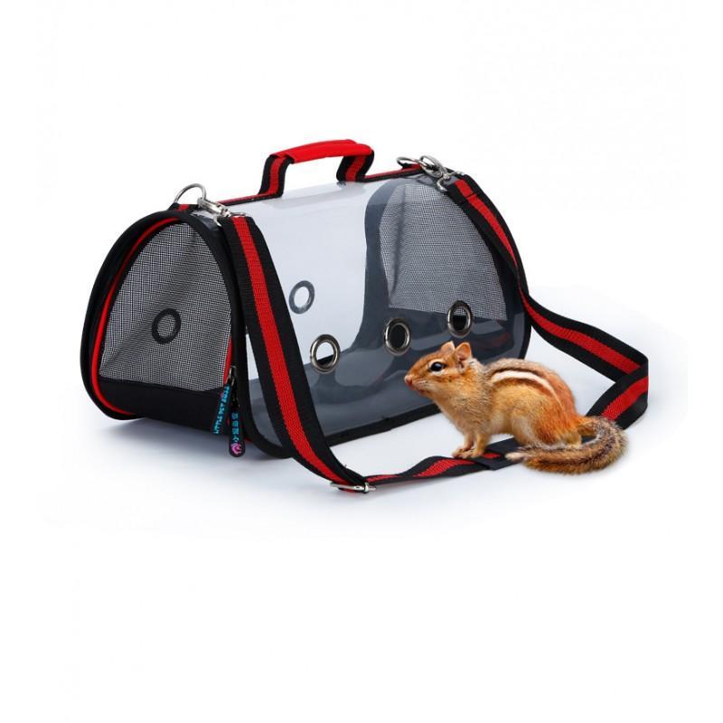 Комплект: Прозрачная сумка-переноска Pet Travel для собак, кошек и портативная дорожная поилка-кормушка Doggy Travel 216189
