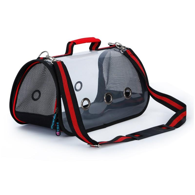 Комплект: Прозрачная сумка-переноска Pet Travel для собак, кошек и портативная дорожная поилка-кормушка Doggy Travel 216190
