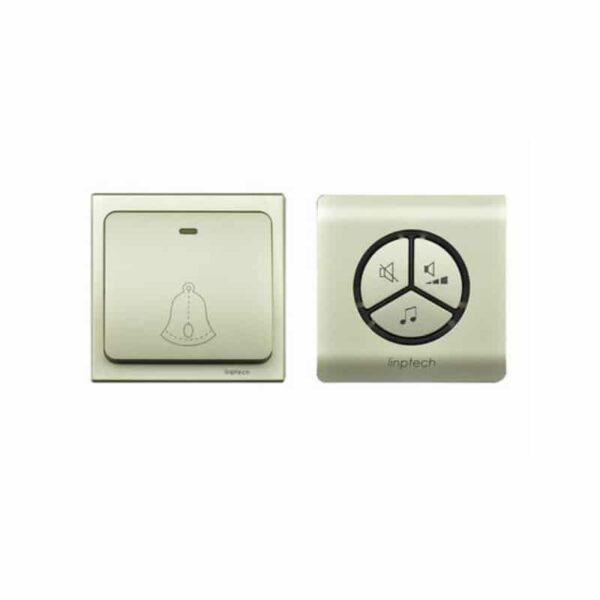 40827 - Водонепроницаемый беспроводной дверной звонок LinBell G1 (золото): без батареек, 25 мелодий, 3 уровня громкости, 80 м, IPx7