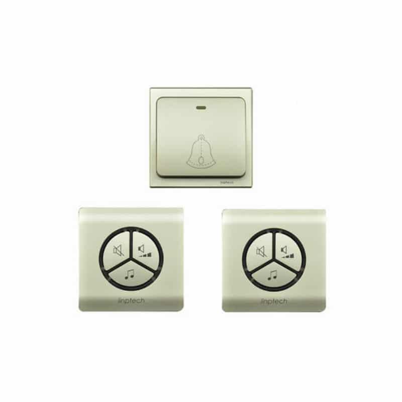 Водонепроницаемый беспроводной дверной звонок LinBell G1 (золото): без батареек, 25 мелодий, 3 уровня громкости, 80 м, IPx7 216210