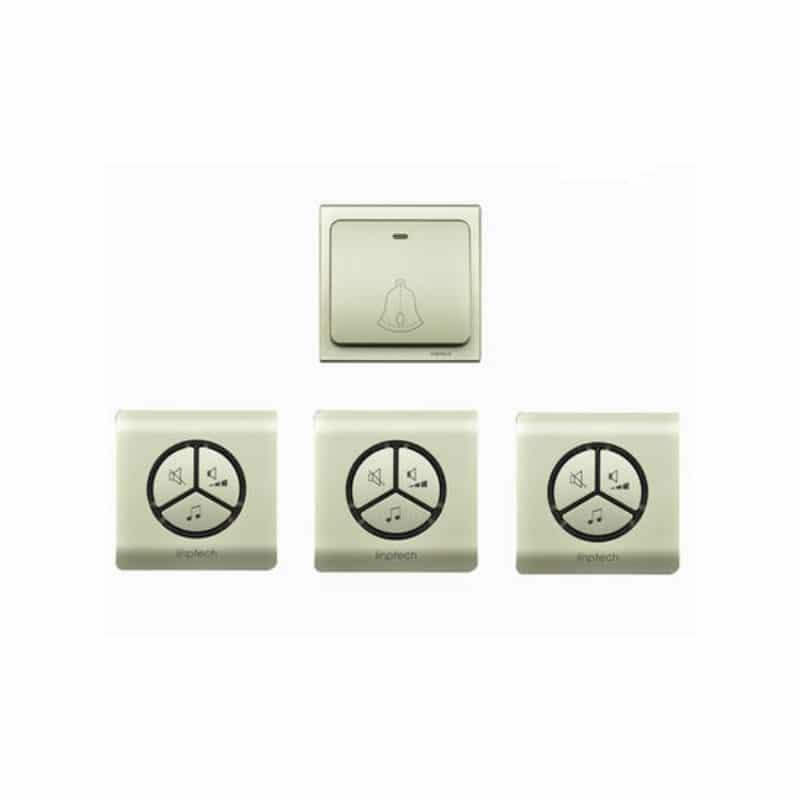 Водонепроницаемый беспроводной дверной звонок LinBell G1 (золото): без батареек, 25 мелодий, 3 уровня громкости, 80 м, IPx7 216211