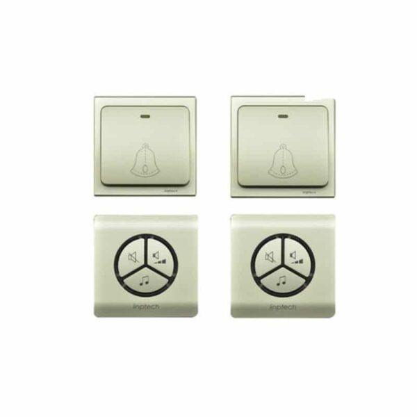 40830 - Водонепроницаемый беспроводной дверной звонок LinBell G1 (золото): без батареек, 25 мелодий, 3 уровня громкости, 80 м, IPx7