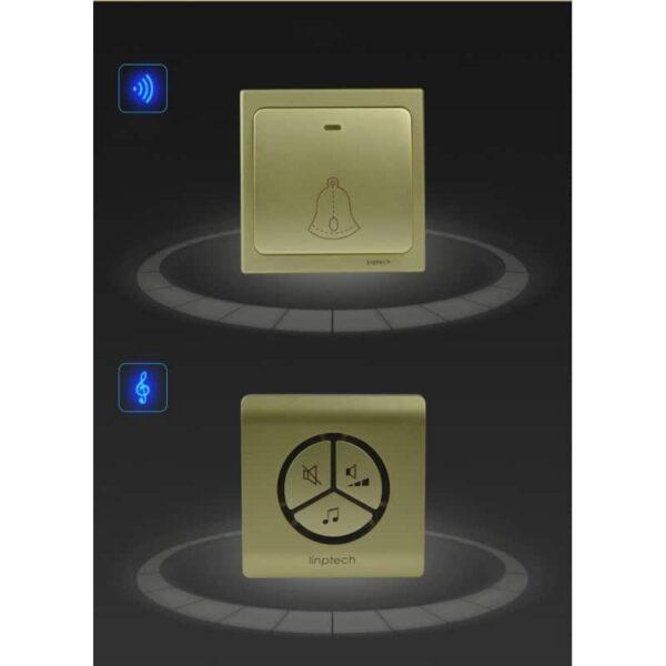 40831 - Водонепроницаемый беспроводной дверной звонок LinBell G1 (золото): без батареек, 25 мелодий, 3 уровня громкости, 80 м, IPx7