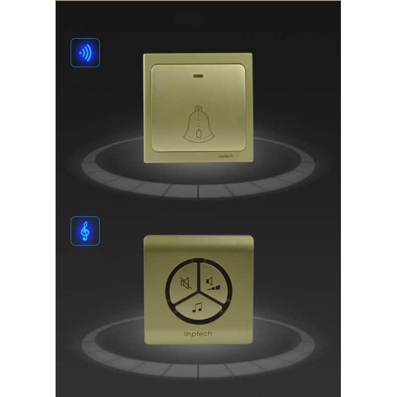 Водонепроницаемый беспроводной дверной звонок LinBell G1 (золото): без батареек, 25 мелодий, 3 уровня громкости, 80 м, IPx7 216213