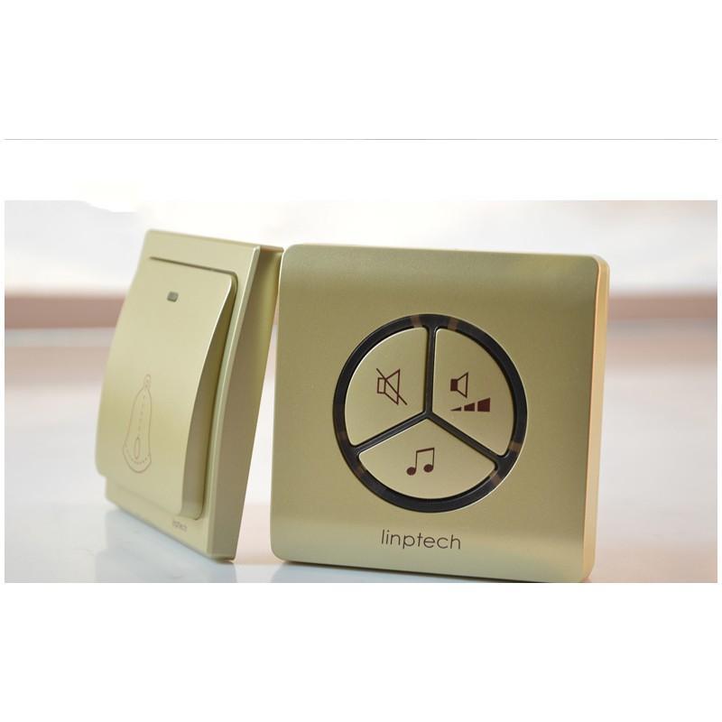 40849 - Водонепроницаемый беспроводной дверной звонок LinBell G1 (золото): без батареек, 25 мелодий, 3 уровня громкости, 80 м, IPx7