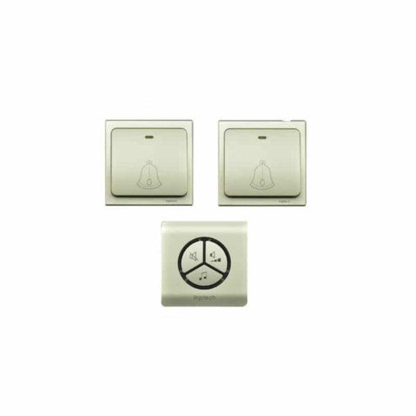 40863 - Водонепроницаемый беспроводной дверной звонок LinBell G1 (золото): без батареек, 25 мелодий, 3 уровня громкости, 80 м, IPx7