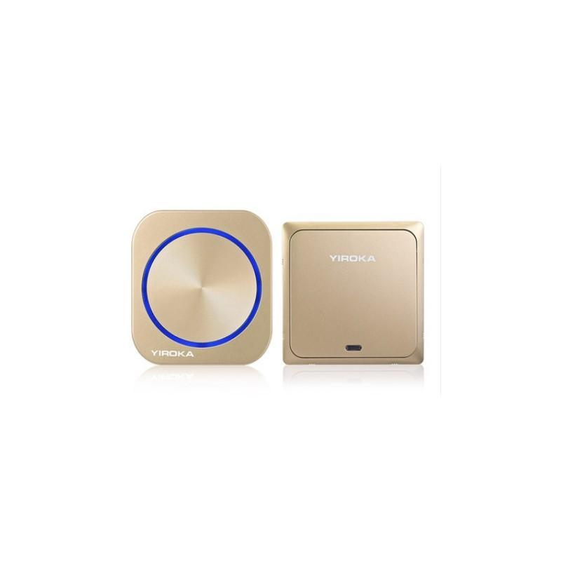40899 - Беспроводной водозащищенный дверной звонок без батареек YIROKA DQ-688 (золото): 58 мелодий, 4 уровня громкости, 150 м, IP44