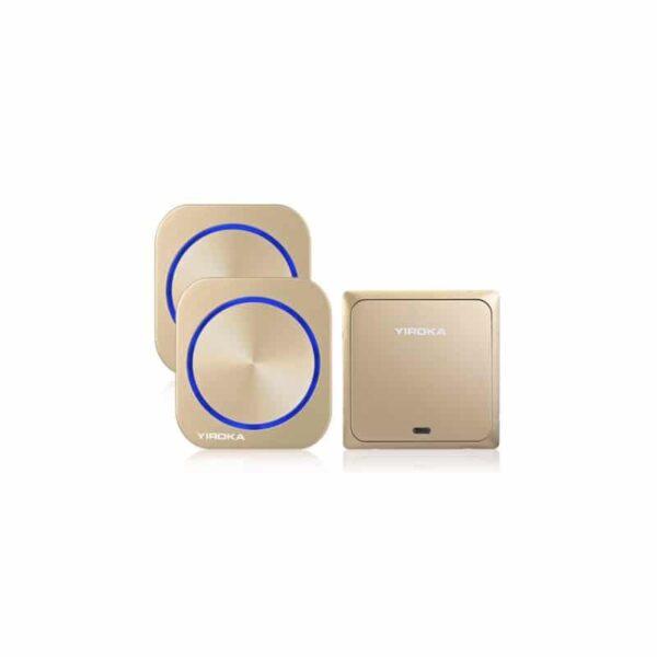 40900 - Беспроводной водозащищенный дверной звонок без батареек YIROKA DQ-688 (золото): 58 мелодий, 4 уровня громкости, 150 м, IP44