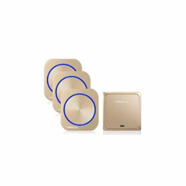 40901 - Беспроводной водозащищенный дверной звонок без батареек YIROKA DQ-688 (золото): 58 мелодий, 4 уровня громкости, 150 м, IP44