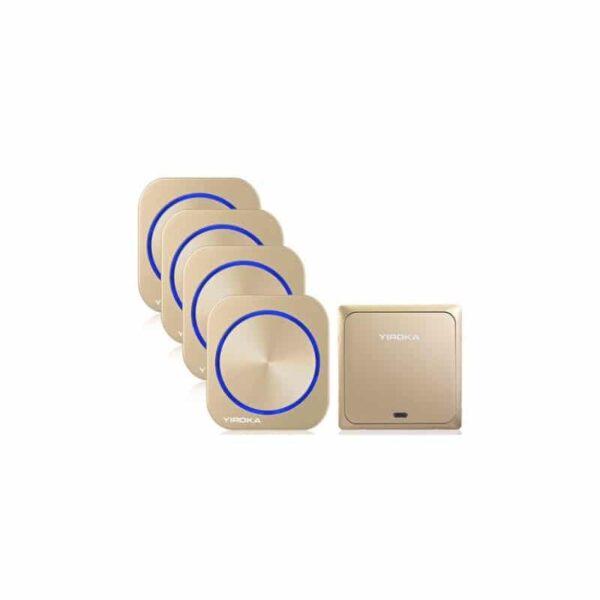 40902 - Беспроводной водозащищенный дверной звонок без батареек YIROKA DQ-688 (золото): 58 мелодий, 4 уровня громкости, 150 м, IP44