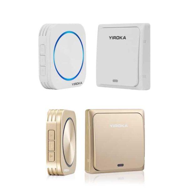 40909 - Беспроводной водозащищенный дверной звонок без батареек YIROKA DQ-688 (белый): 58 мелодий, 4 уровня громкости, 150 м, IP44