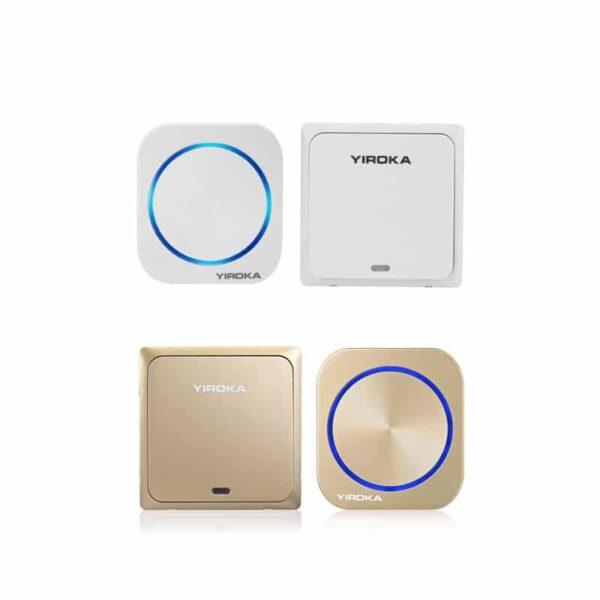 40916 - Беспроводной водозащищенный дверной звонок без батареек YIROKA DQ-688 (белый): 58 мелодий, 4 уровня громкости, 150 м, IP44