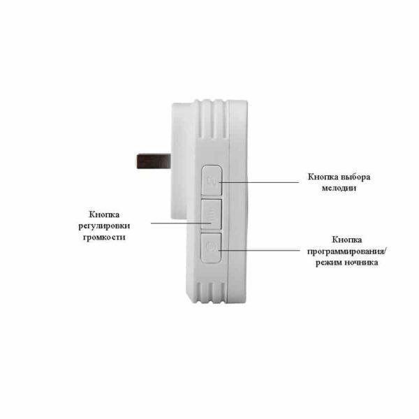 40921 - Беспроводной водозащищенный дверной звонок без батареек YIROKA DQ-688 (белый): 58 мелодий, 4 уровня громкости, 150 м, IP44
