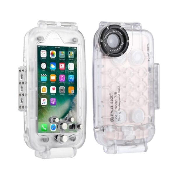 40933 - Водонепроницаемый ударопрочный кейс PULUZ для iPhone 8 и 7: до 40 м погружение, 360° защита
