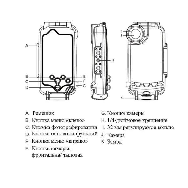 40969 - Водонепроницаемый ударопрочный кейс PULUZ для iPhone X (белый): до 40 м погружение, 360° защита