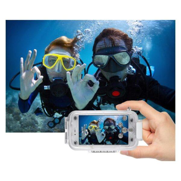 40972 - Водонепроницаемый ударопрочный кейс PULUZ для iPhone X (белый): до 40 м погружение, 360° защита