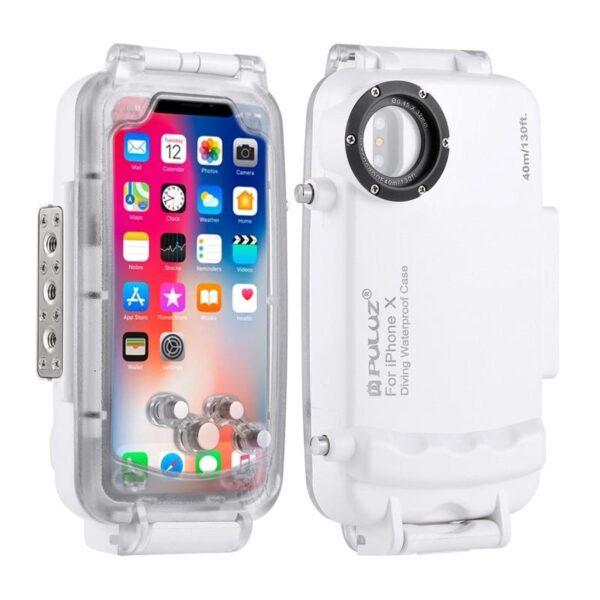 40975 - Водонепроницаемый ударопрочный кейс PULUZ для iPhone X (белый): до 40 м погружение, 360° защита
