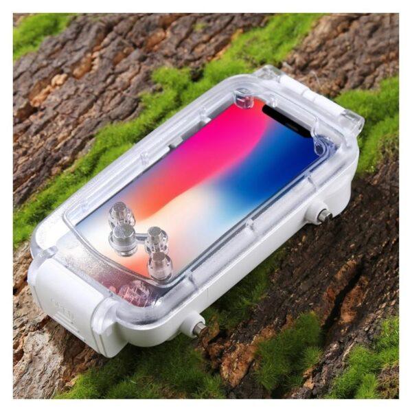 40979 - Водонепроницаемый ударопрочный кейс PULUZ для iPhone X (белый): до 40 м погружение, 360° защита