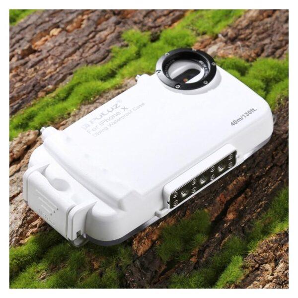 40980 - Водонепроницаемый ударопрочный кейс PULUZ для iPhone X (белый): до 40 м погружение, 360° защита