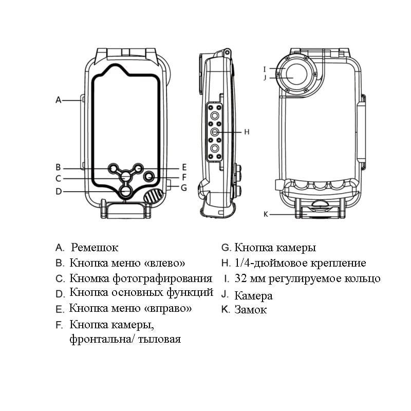 Водонепроницаемый ударопрочный кейс PULUZ для iPhone 8 Plus/ 7 Plus: до 40 м погружение, 360° защита, 3 цвета 216337