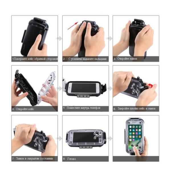 40985 - Водонепроницаемый ударопрочный кейс PULUZ для iPhone 8 Plus/ 7 Plus: до 40 м погружение, 360° защита, 3 цвета