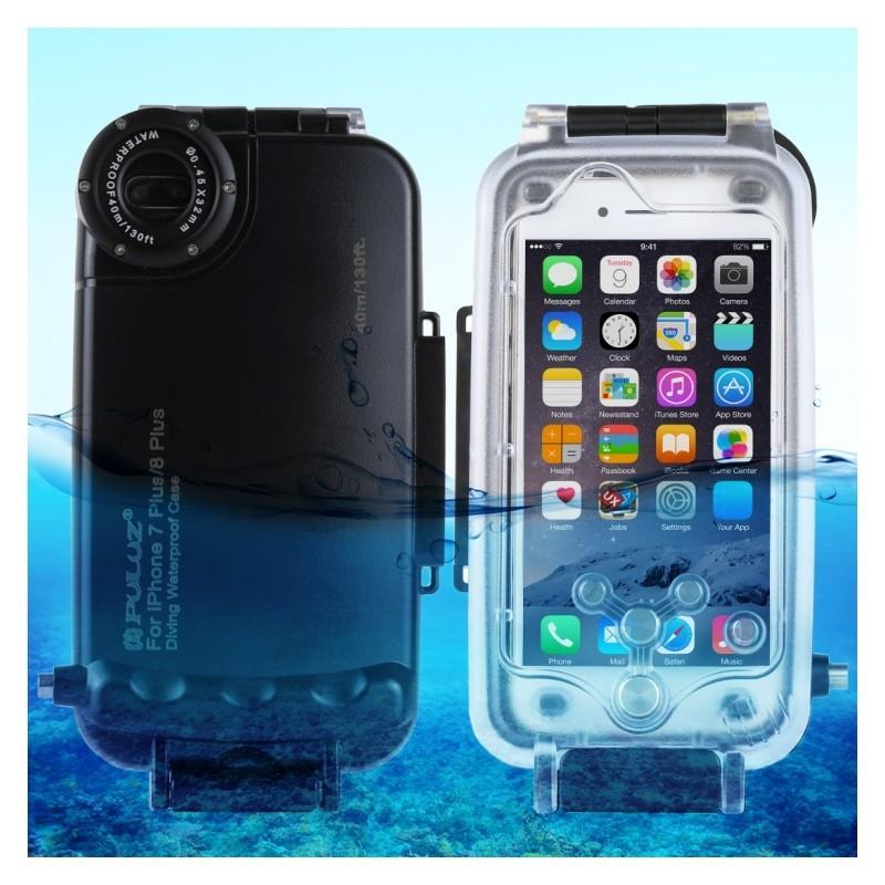 Водонепроницаемый ударопрочный кейс PULUZ для iPhone 8 Plus/ 7 Plus: до 40 м погружение, 360° защита, 3 цвета - Черный