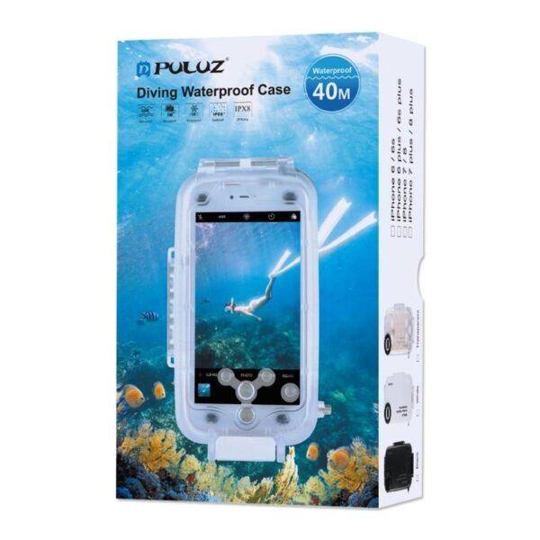 40992 - Водонепроницаемый ударопрочный кейс PULUZ для iPhone 8 Plus/ 7 Plus: до 40 м погружение, 360° защита, 3 цвета