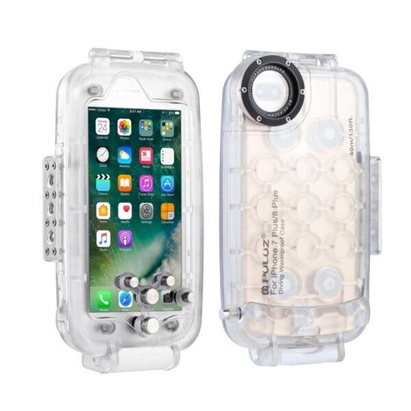40996 - Водонепроницаемый ударопрочный кейс PULUZ для iPhone 8 Plus/ 7 Plus: до 40 м погружение, 360° защита, 3 цвета