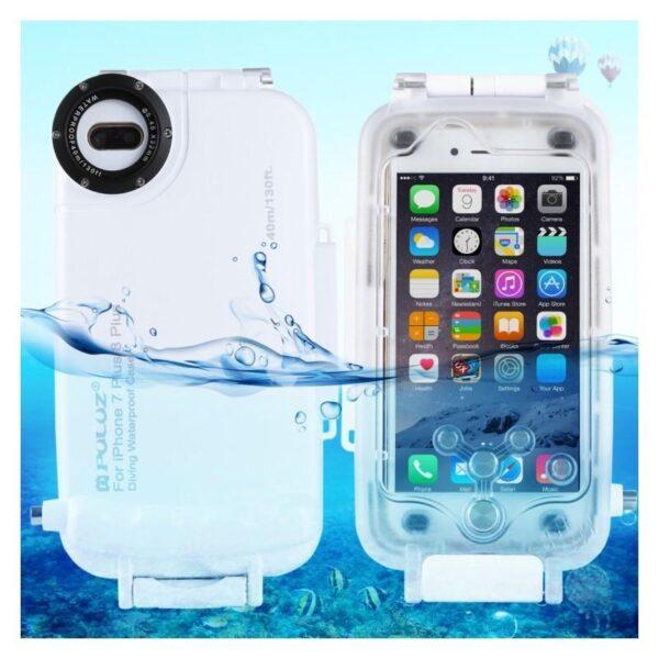 40998 - Водонепроницаемый ударопрочный кейс PULUZ для iPhone 8 Plus/ 7 Plus: до 40 м погружение, 360° защита, 3 цвета