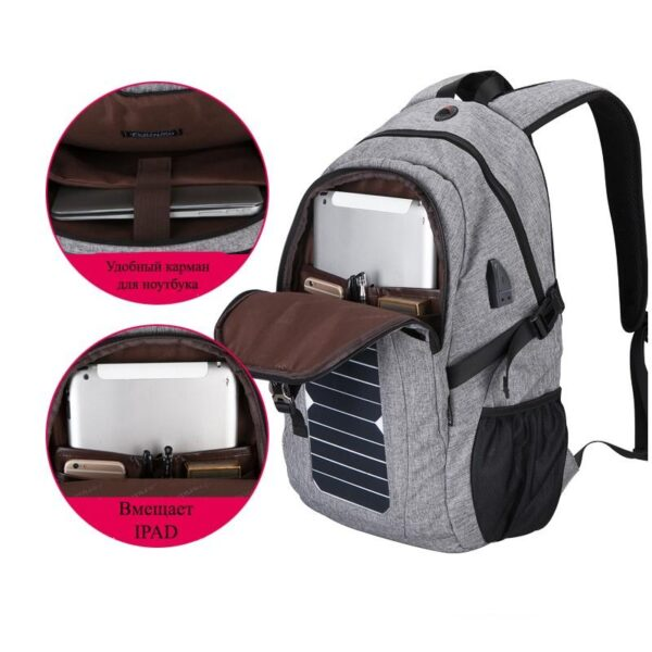 41077 - USB-рюкзак с солнечной зарядкой Van Ryan: встроенный USB, отделение для ноутбука 15,6 дюймов, отверстие для наушников, очков