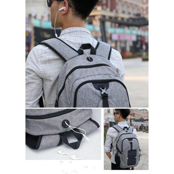 41086 - USB-рюкзак с солнечной зарядкой Van Ryan: встроенный USB, отделение для ноутбука 15,6 дюймов, отверстие для наушников, очков