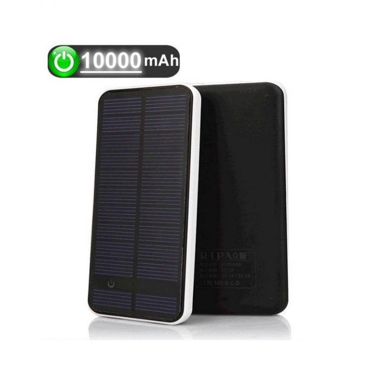 423 - Внешний аккумулятор RIPA 10000 мАч с солнечной панелью 1,5 Вт, 2x USB для зарядки смартфонов и планшетов